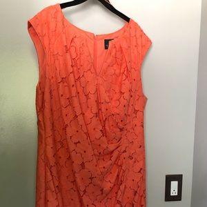 Adrianna Papell Orange Faux wrap dress